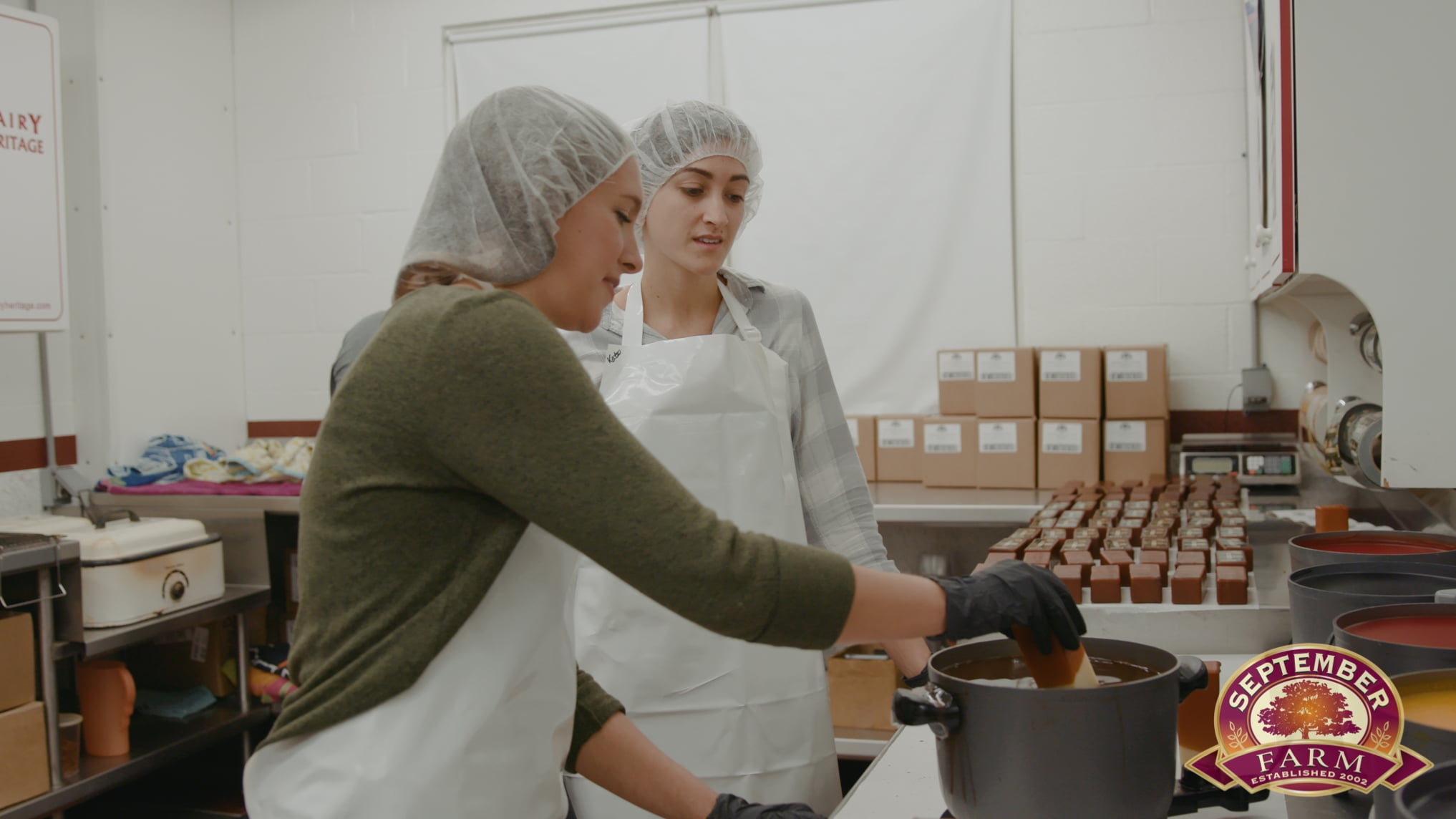 covering cheese with wax at september farm